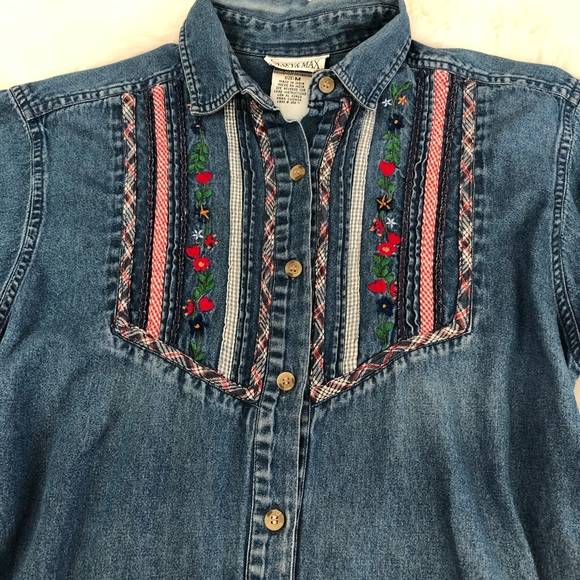 Casey & Max Tops - Casey & Max Denim Shirt Embroidered button down M